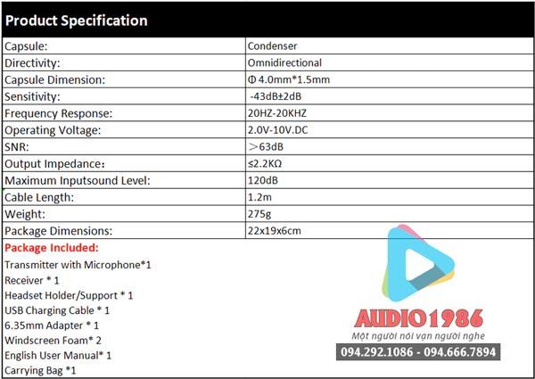 Top 5 Micro không dây đeo tai hát karaoke kết nối ampli có sẵn - 4
